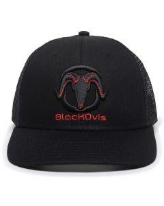 BlackOvis 6 Panel Logo Hat - Black/Red