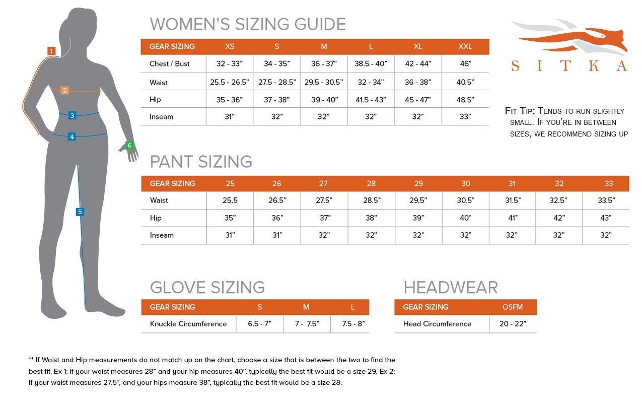 Sitka womens kelvin active jacket size chart nvjuhfo Image collections