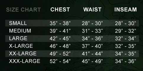 First Lite Sizing Chart
